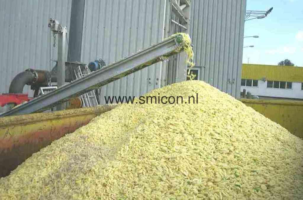 Aardappelen aanvoer voor verwerking met Smicon transportband